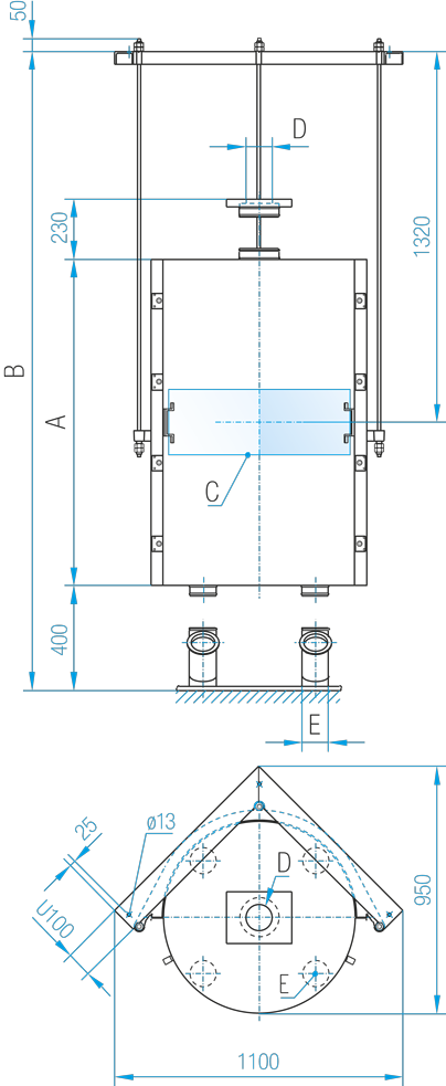 Technical drawing and measurements of single-box plansifter